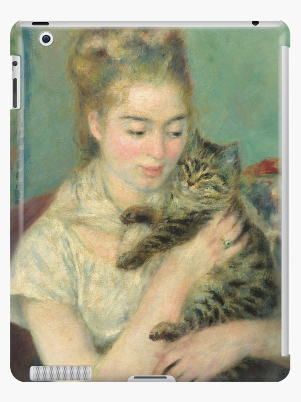 Woman with a Cat Oil Painting by Auguste Renoir iPad Cases & Skins