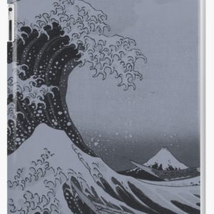 Silver Japanese Great Wave off Kanagawa by Hokusai iPad Cases & Skins