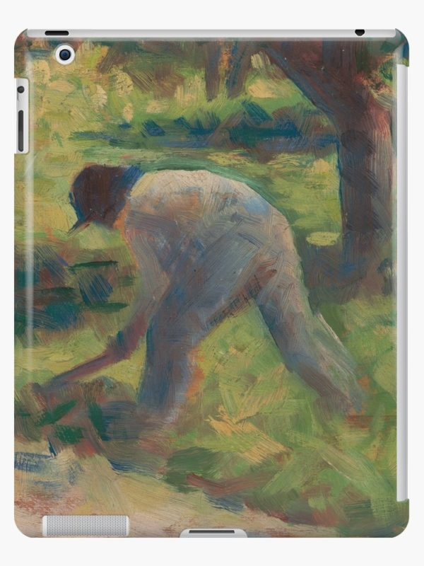 Peasant with a Hoe Oil Painting by Georges Seurat iPad Cases & Skins