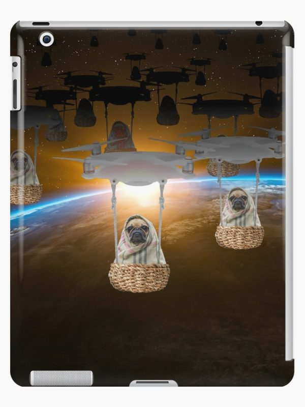 Pugvasion Alien Invasion by Drone iPad Cases & Skins