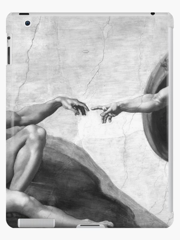 Black and White Creation of Adam Painting by Michelangelo Sistine Chapel iPad Cases & Skins