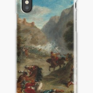 Arabs Skirmishing in the Mountains Oil Painting by Eugène Delacroix iPhone Cases & Covers