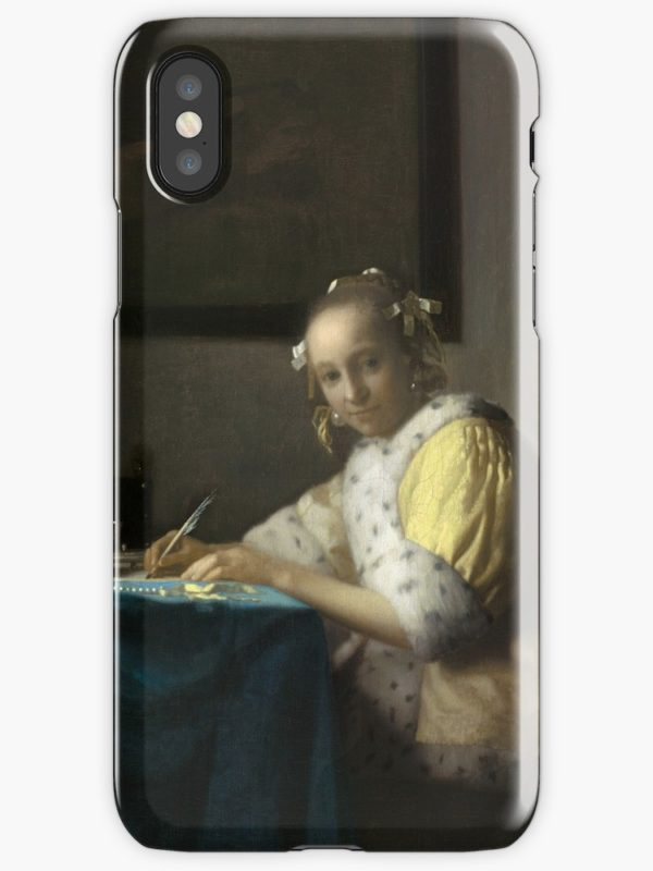 A Lady Writing Oil Painting by Johannes Vermeer iPhone Cases & Covers