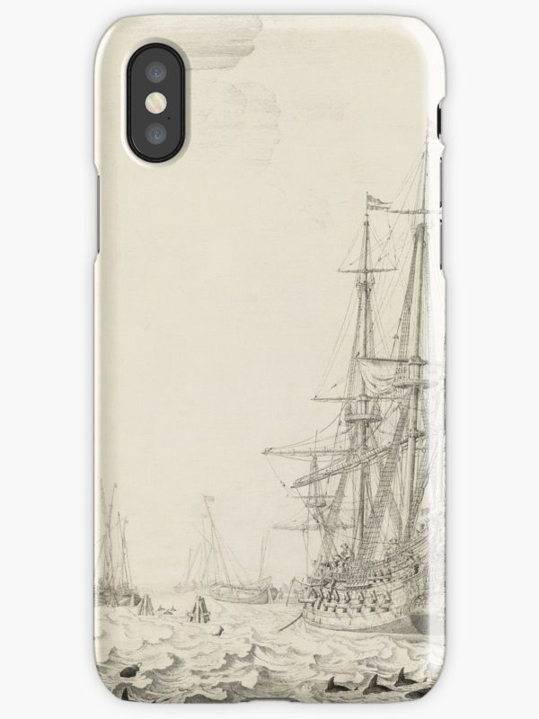 Dutch Ships near the Coast Oil Painting by Willem van de Velde the Elder iPhone Cases & Covers