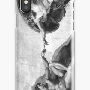 Black and White Creation of Adam Painting by Michelangelo Sistine Chapel iPhone Cases & Covers