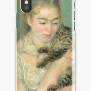 Woman with a Cat Oil Painting by Auguste Renoir iPhone Cases & Covers