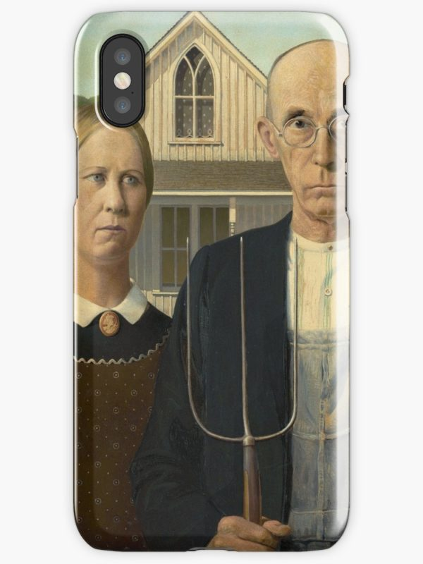 American Gothic Oil Painting by Grant Wood iPhone Cases & Covers