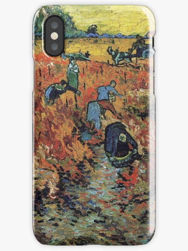 The Red Vineyards Oil Painting on Burlap by Vincent van Gogh iPhone Cases & Covers