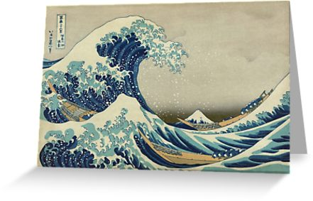 The Classic Japanese Great Wave off Kanagawa by Hokusai Greeting Cards