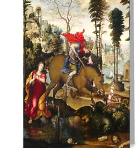 Saint George and the Dragon Oil Painting by Sodoma Greeting Cards