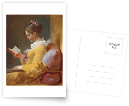 Young Girl Reading Painting by Jean-Honoré Fragonard Postcards