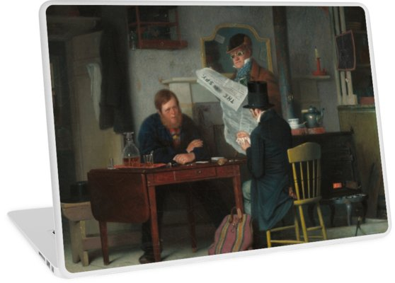 Waiting for the Stage Oil Painting by Richard Caton Woodville Laptop Skins