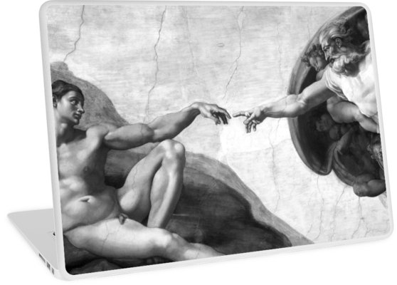 Black and White Creation of Adam Painting by Michelangelo Sistine Chapel Laptop Skins