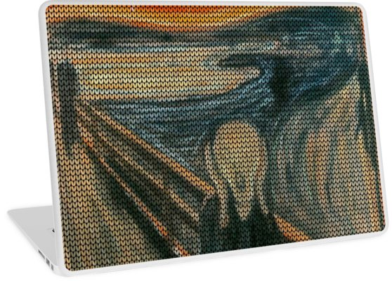 The Scream Lovingly Knitted by Granny E-Munch Laptop Skins