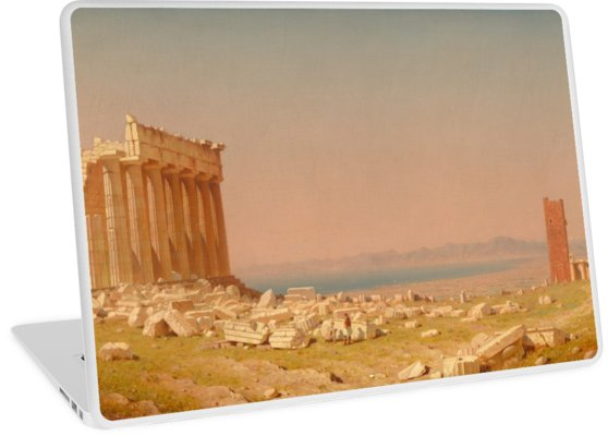 Ruins of the Parthenon Oil Painting by Sanford Robinson Gifford Laptop Skins