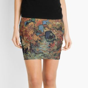 The Red Vineyards Oil Painting on Burlap by Vincent van Gogh Mini Skirts