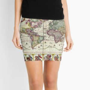 Vintage 1652 World Map by Claes Janszoon Visscher Mini Skirts
