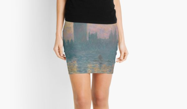 The Houses of Parliament  Sunset by Claude Monet Mini Skirts