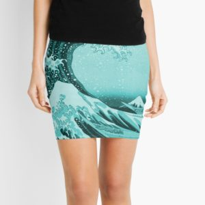 Aqua Blue Japanese Great Wave off Kanagawa by Hokusai Mini Skirts