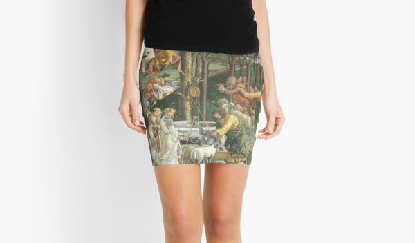 Trials of Moses Painting by Botticelli - Sistine Chapel Mini Skirts