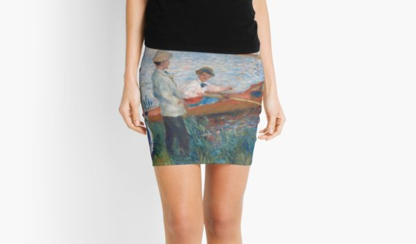 Oarsmen at Chatou Painting by Auguste Renoir Mini Skirts