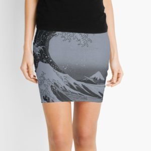 Silver Japanese Great Wave off Kanagawa by Hokusai Mini Skirts