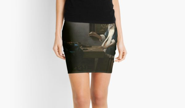 Woman Holding a Balance Oil Painting by Johannes Vermeer Mini Skirts