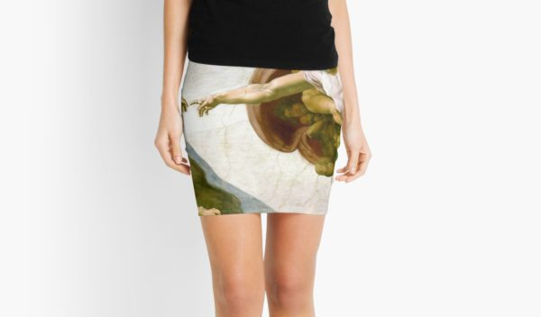 The Creation of Adam Painting by Michelangelo Sistine Chapel Mini Skirts