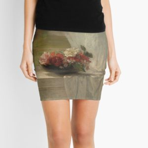 Flowers on a Window Ledge Oil Painting by John La Farge Mini Skirts