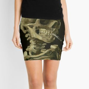 Skull of a Skeleton with Burning Cigarette by Vincent van Gogh Mini Skirts