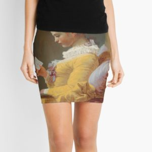 Young Girl Reading Painting by Jean-Honoré Fragonard Mini Skirts