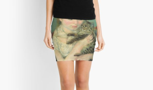 Woman with a Cat Oil Painting by Auguste Renoir Mini Skirts
