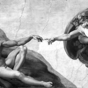 Black and White Creation of Adam Painting by Michelangelo Sistine Chapel Photographic Prints