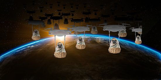 Pugvasion Alien Invasion by Drone Photographic Prints