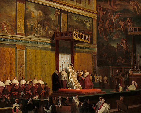 Pope Pius VII in the Sistine Chapel Oil Painting by Jean-Auguste-Dominique Ingres Photographic Prints