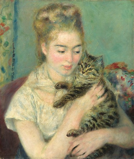 Woman with a Cat Oil Painting by Auguste Renoir Photographic Prints