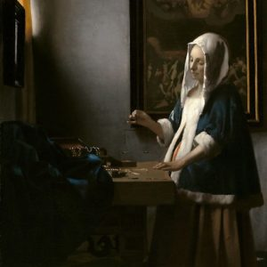 Woman Holding a Balance Oil Painting by Johannes Vermeer Photographic Prints