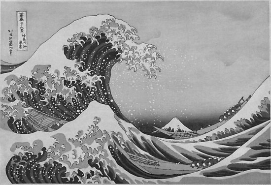 Black and white japanese great wave off kanagawa by hokusai photographic prints