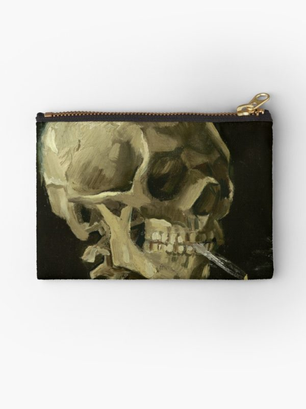 Skull of a Skeleton with Burning Cigarette by Vincent van Gogh Studio Pouches