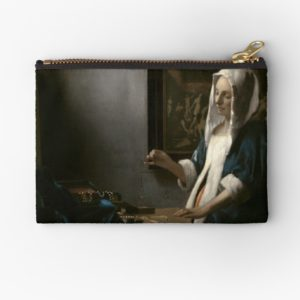 Woman Holding a Balance Oil Painting by Johannes Vermeer Studio Pouches
