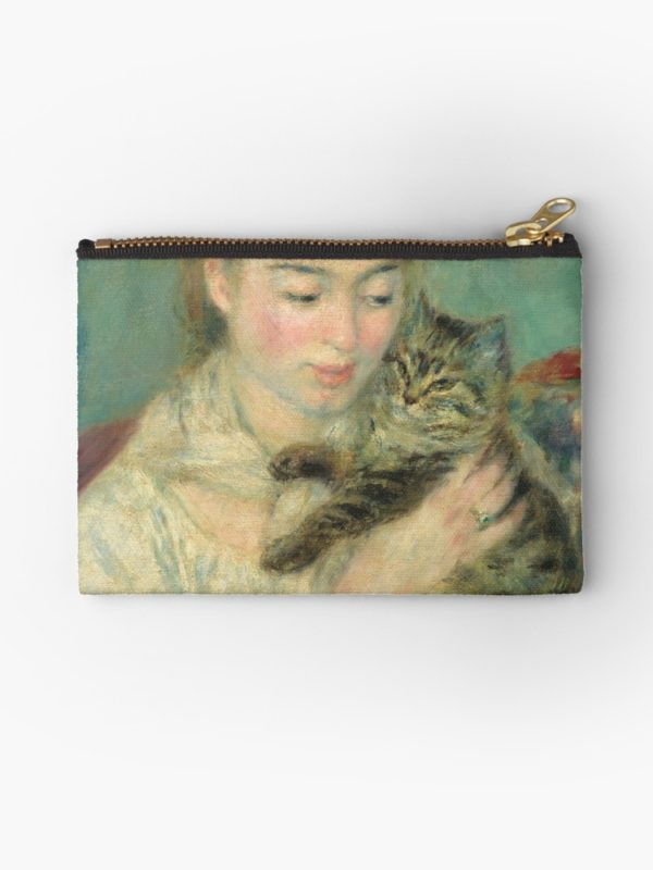 Woman with a Cat Oil Painting by Auguste Renoir Studio Pouches