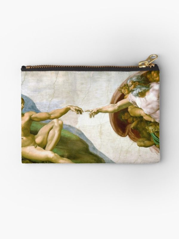 The Creation of Adam Painting by Michelangelo Sistine Chapel Studio Pouches