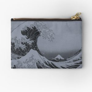 Silver Japanese Great Wave off Kanagawa by Hokusai Studio Pouches