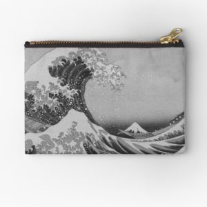 Black and White Japanese Great Wave off Kanagawa by Hokusai Studio Pouches