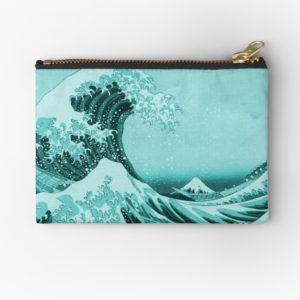 Aqua Blue Japanese Great Wave off Kanagawa by Hokusai Studio Pouches