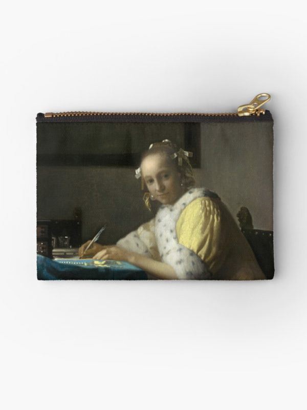A Lady Writing Oil Painting by Johannes Vermeer Studio Pouches