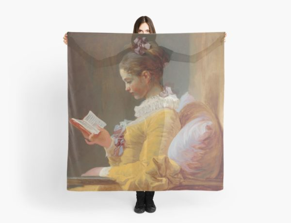 Young Girl Reading Painting by Jean-Honoré Fragonard Scarves