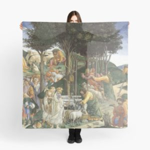 Trials of Moses Painting by Botticelli - Sistine Chapel Scarves