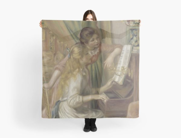 Young Girls at the Piano Oil Painting by Pierre Auguste Renoir Scarves