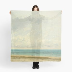 Calm Sea Oil Painting by Gustave Courbet Scarves